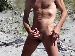 Steve jerks off at beach and cums