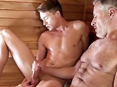 Silver daddy tears up youthful fellow in a sauna (Preview)