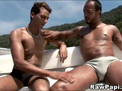Latino hardcore penis riding On a Boat
