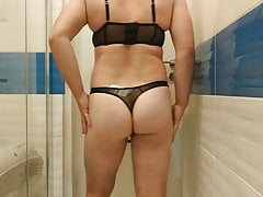Boy on sexy lingerie his mom