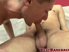 Jock is happy to be fucked barebacked after sucking cock