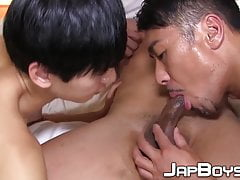 Japanese dudes practice oral and doggystyle in threesome