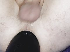 Close up big dildo riding and spunking