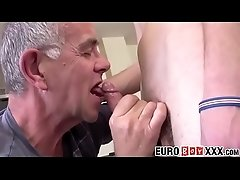Euro twink gets sucked off by a mature balding pervert