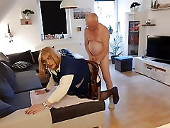 The old man fucks the cleaning Lady from behind and cums in