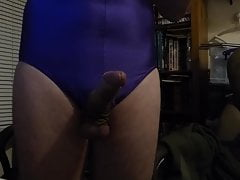 wanking in Blue Leotard cross dresser please watch