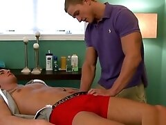 Muscular stud doggystyled after massage