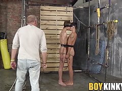 Skinny twinks roped and dominated before they masturbate