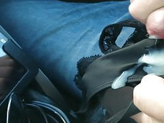 Yet another guy cums in my wife's thong panties