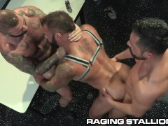 '3 Hairy Muscle Strippers Pound It Out Backstage - RagingStallion'