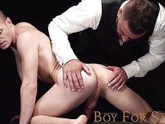 Master Dolf Dietrich strips twink slave before dildo play