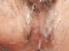 close up cucumber fuck my ass with cum
